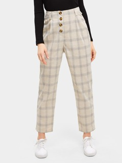 Button Front Plaid Tapered Pants