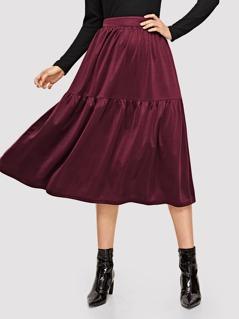 Elastic Waist Solid Skirt