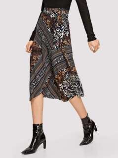 Tie Waist Mixed Print Wrap Skirt