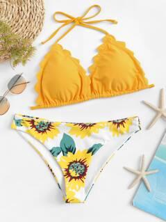 Scallop Edge Halter Top With Floral Bikini Set