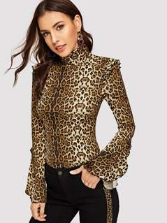 High Neck Bell Sleeve Leopard Fitted Tee