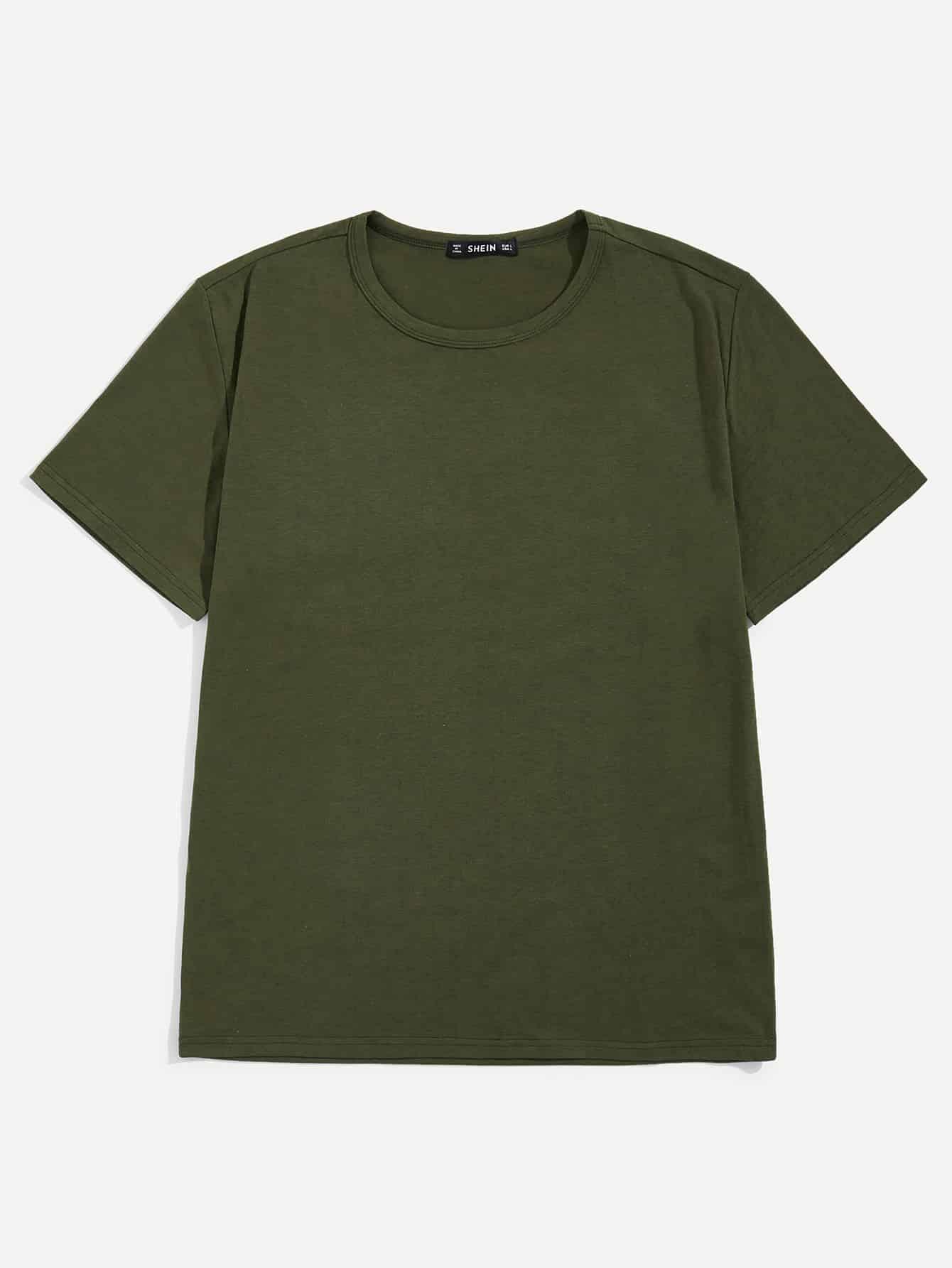 Купить Мужская однотонная футболка с коротким рукавом, null, SheIn