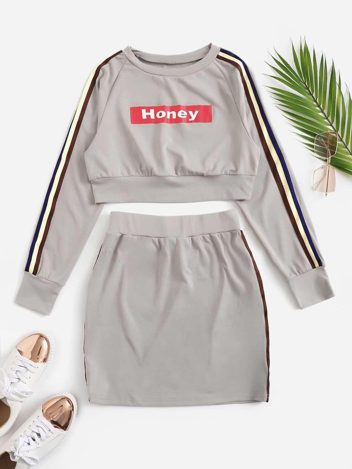 Купить Короткый пуловер в полоску сбоку и юбка комплект, null, SheIn