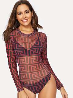 Greek Fret Print Sheer Fitted Bodysuit
