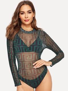 Greek Fret Print Sheer Fitted Bodysuit