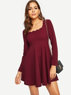 Scalloped Neck Fit & Flare Dress