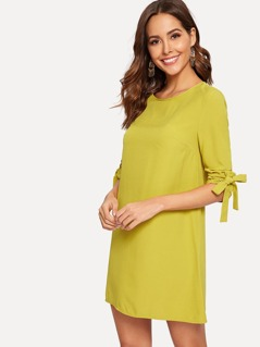 Knot Rolled Up Sleeve Solid Dress