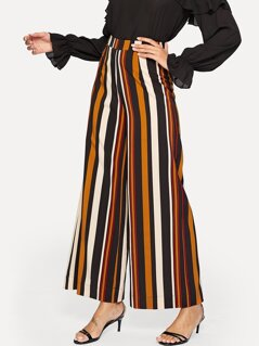 Vertical-stripe Wide Leg Pants