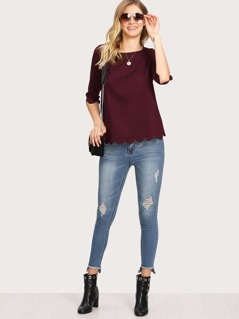 Buttoned Overlap Back Scalloped Tunic Top