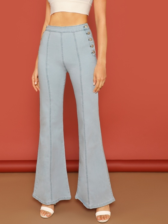 3a4ac255 Button Sides Center Seam Flared Denim Jeans