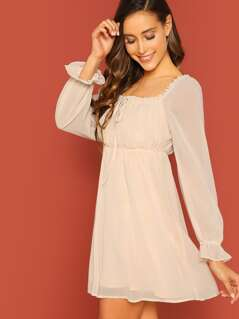 Square Neck Tie Detail Puff Sleeve Peasant Dress