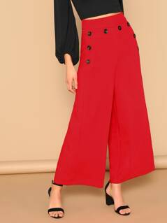 Button Detail Wide Leg Palazzo Pants