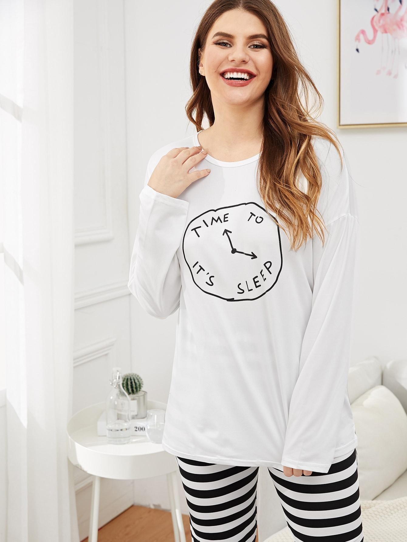 Купить Размер плюс пижамный комплект топ с принтом часов и брюки в полоску, Isabela, SheIn