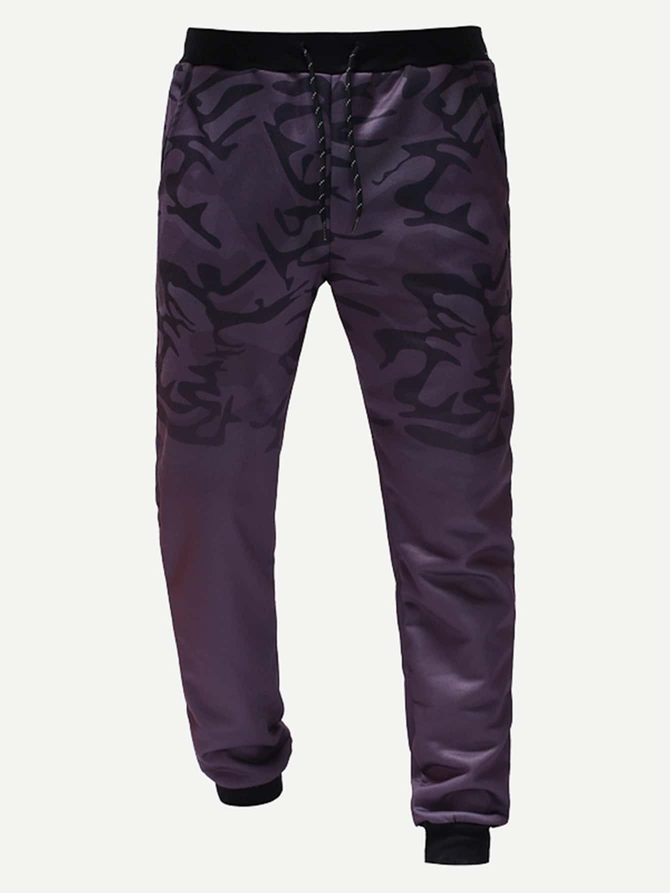 Купить Мужские спортивные брюки с камуфляжным принтом, null, SheIn