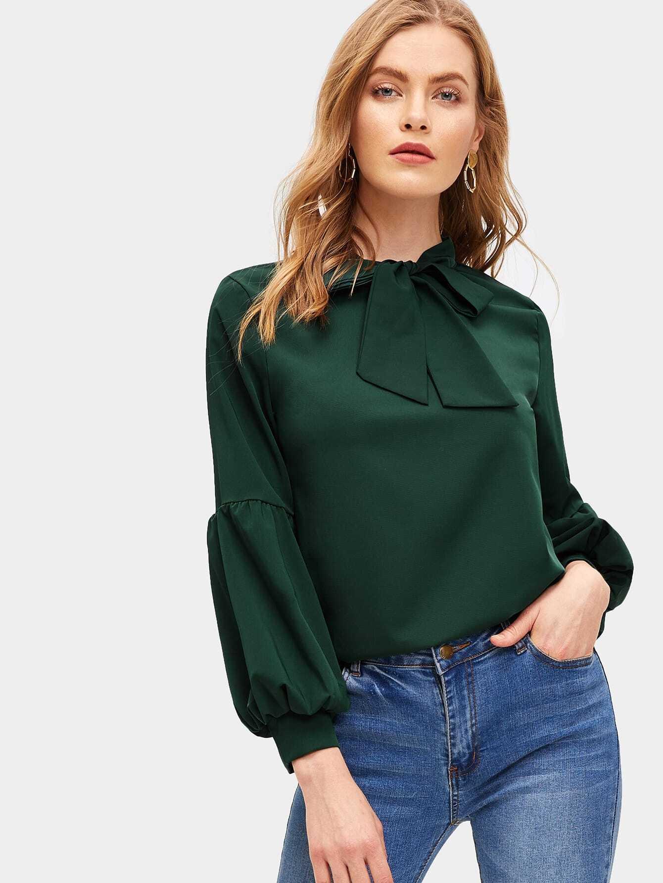 Купить Блуза с завязкой на шее и оригинальным рукавом, Kate C, SheIn