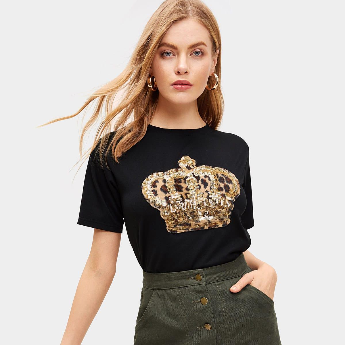 Zwart Casual Luipaard T-shirts Contrast pailletten