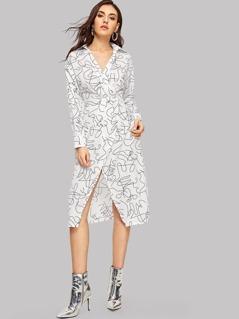 Graphic Print Surplice Wrap Collared Dress