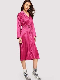 Notch Collar Drawstring Waist Satin Shirt Dress