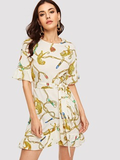 Tiger and Chain Print Wrap Belted Dress