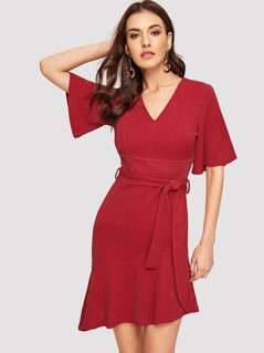 Flutter Sleeve Ruffle Hem Belted Glitter Dress