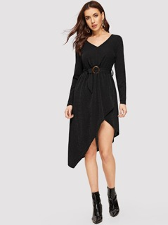 O-ring Belted Surplice Wrap Asymmetrical Glitter Dress