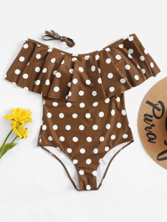 Random Flounce Foldover Polka Dot One Piece Swimsuit