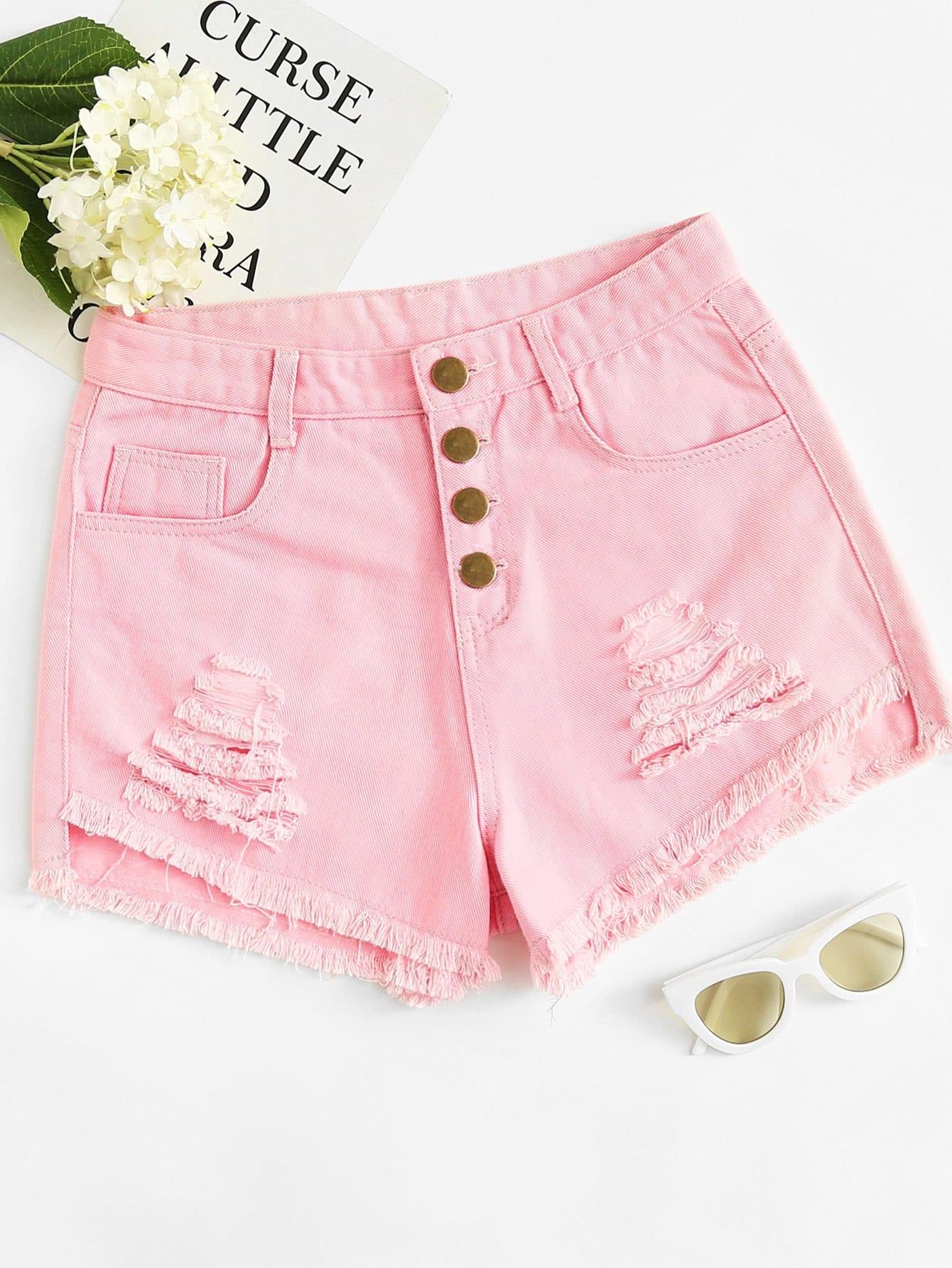 Рваные джинсовые шорты с пуговицей и необработанным краем SheIn