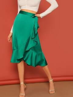 Ruffle Hem Wrap Midi Skirt