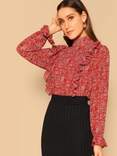 Ruffle Detail Mock-Neck Flower Top