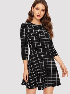 Pearl Beaded Fit & Flare Grid Dress