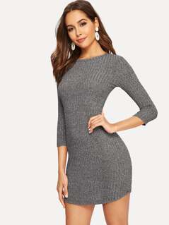 Marled Knit Curved Hem Ribbed Bodycon Dress