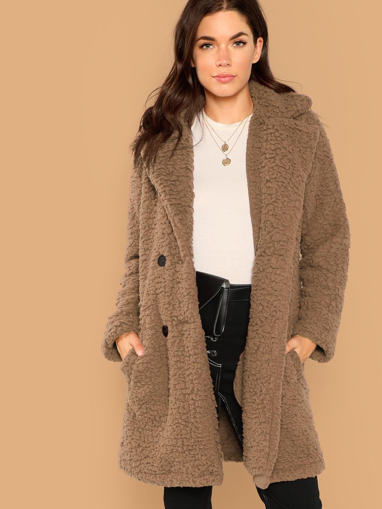 Купить Пушистое пальто с пуговицами и карманом, Aarika Wolf, SheIn