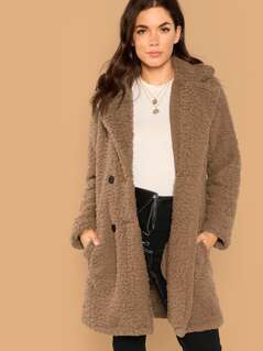 Pocket Patched Buttoned Teddy Coat