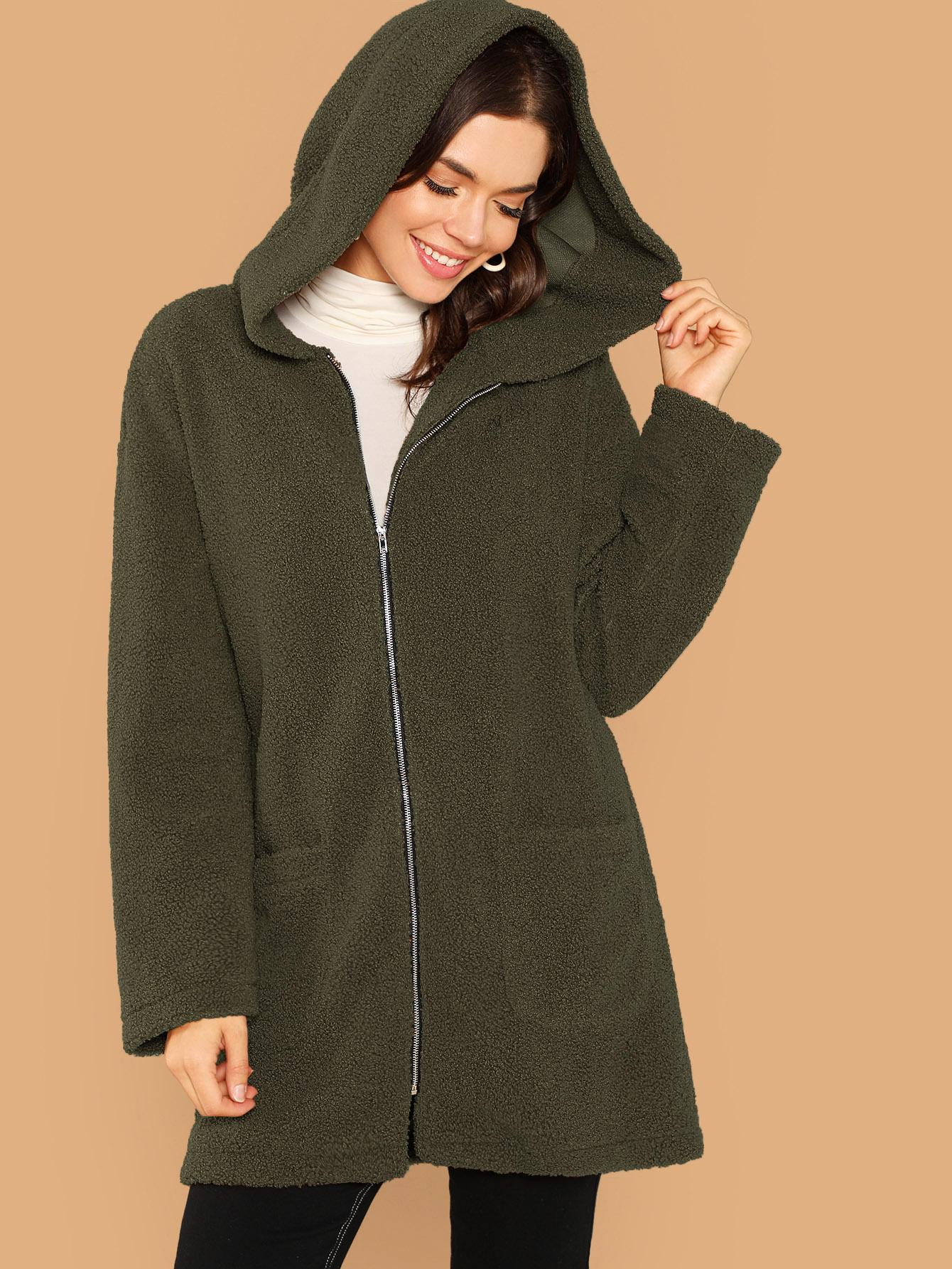 Купить Пушистое пальто с карманом и капюшоном и молнией, Aarika Wolf, SheIn