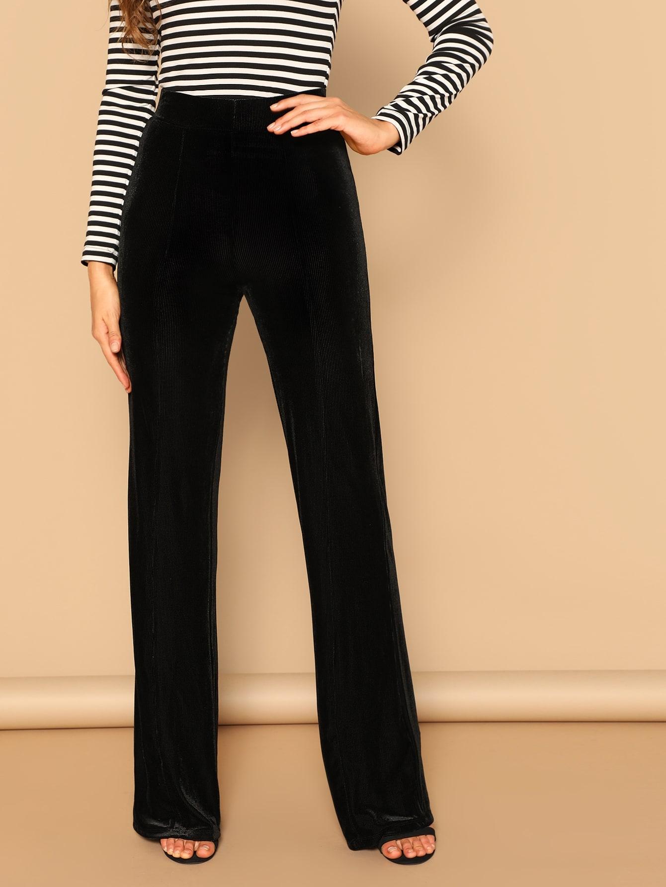 Купить Бархатные прямолинейные брюки на молнии сзади, Anna Herrin, SheIn