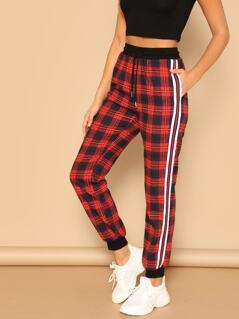 Striped Side Drawstring Waist Track Pants