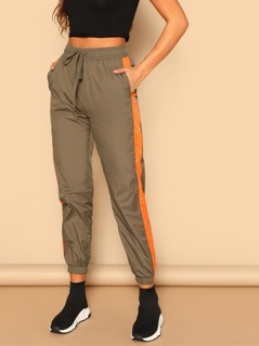 Drawstring Waist Contrast Tape Side Utility Pants