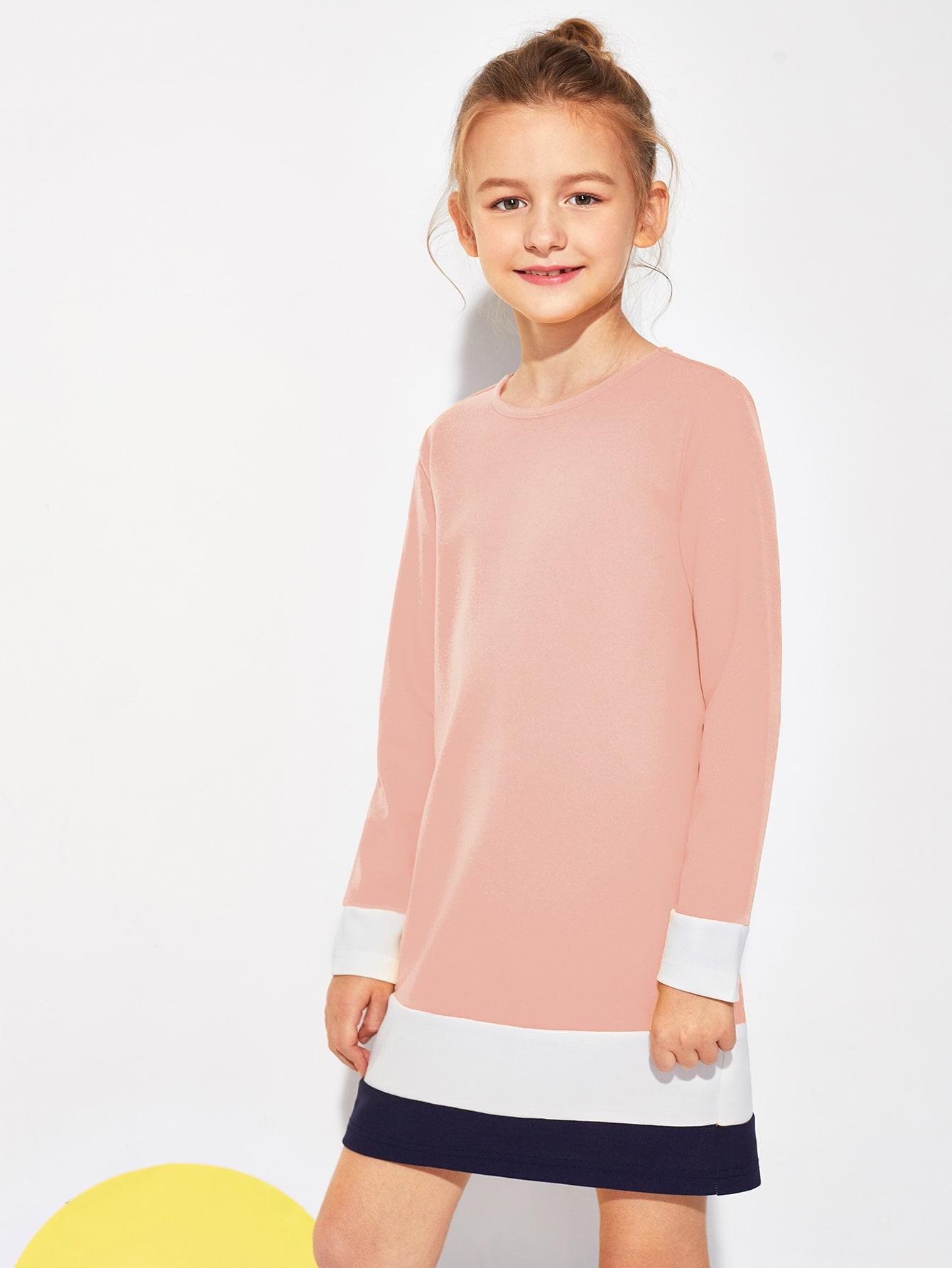 Купить Контрастное платье для девочек, Sashab, SheIn