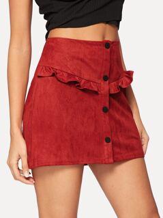 Frill Trim Button Up Suede Skirt