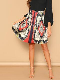 Scarf Print Zip Detail Pleated Skirt