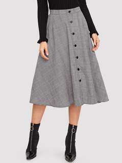 Button Up Plaid Flare Skirt