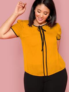 Plus Contrast Binding Knot Front Top