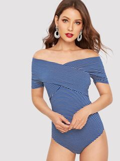 Cross Wrap Off Shoulder Slim Fitted Bodysuit