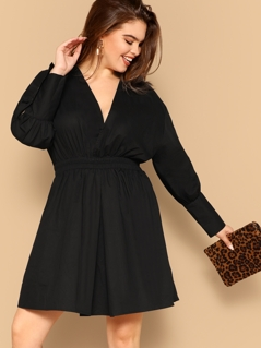 Plus Wrap Front Elastic Waist Dress