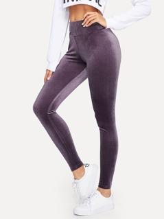 Wide Waistband Velvet Legging