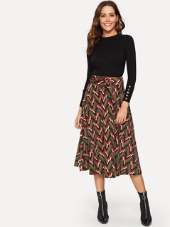 Wide Waist Geo Print Skirt