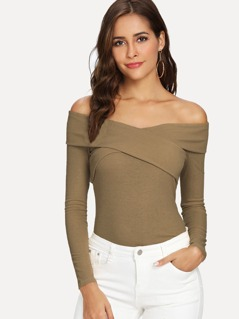 Cross Wrap Off Shoulder Ribbed T-shirt