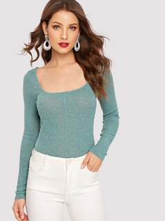 Scoop Neck Rib Knit Fitted Tee