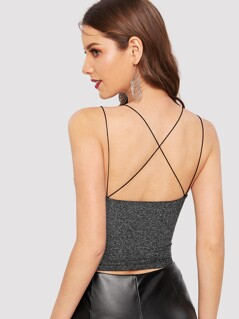 Crisscross Back Glitter Strappy Top