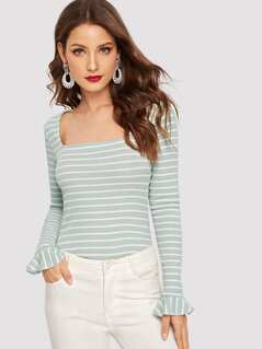 Flare Cuff Striped Ribbed Tee